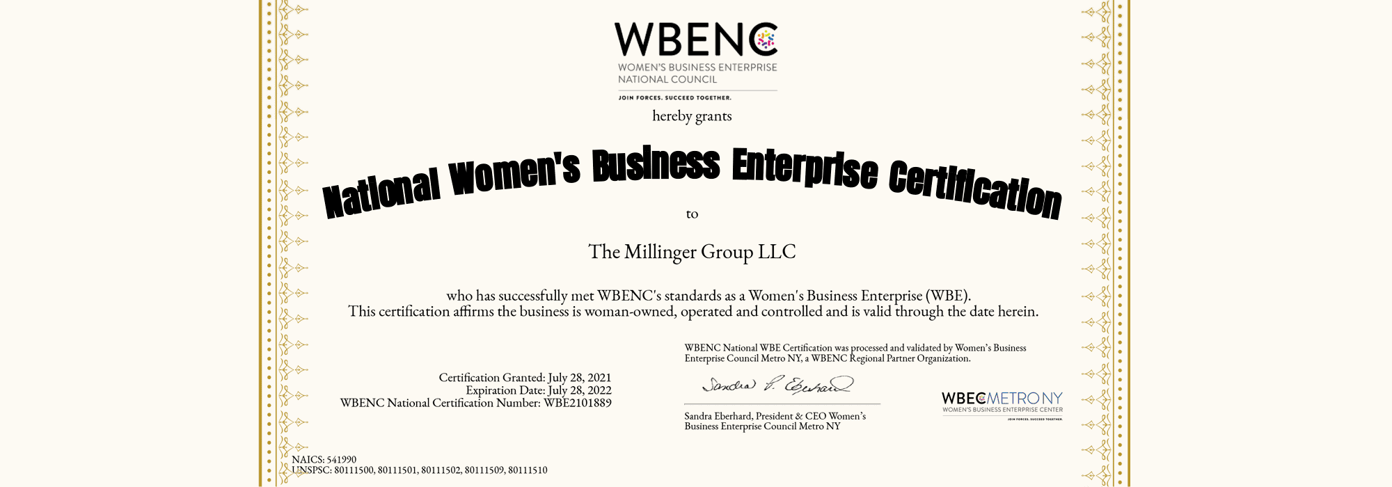 wbe certified hr consultant certificate